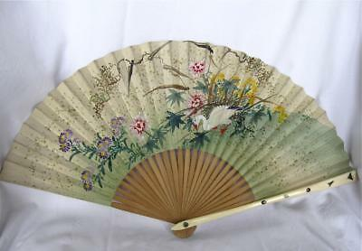 Antique Japanese Shibayama Fan-Inlaid Insects