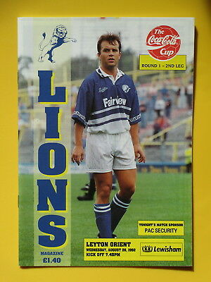 MILLWALL v LEYTON ORIENT LEAGUE CUP 92/93