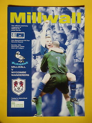 MILLWALL v WYCOMBE WANDERERS FA CUP 00/01