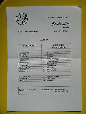 MILLWALL v WYCOMBE WANDERERS RESERVES 98/99
