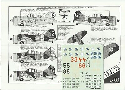 Inscale Decals AC006 Brewster 239 Buffalo decals in 1:72 Scale