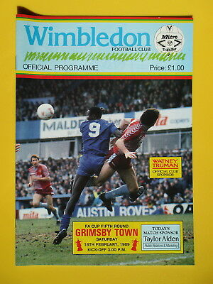 WIMBLEDON v GRIMSBY TOWN FA CUP 88/89