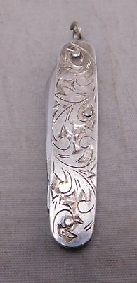 Art Deco Sterling Silver Etched Repousse Mini Small Key Chain Pocket Knife