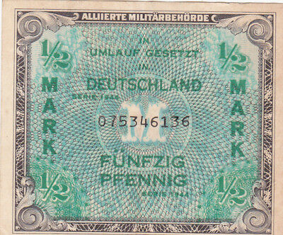 50 Pfennig Vf Banknote From Allied Military Forces 1944 In Germany!pick-191