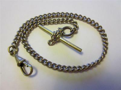 "Antique Edwardian Silver Plated 11"" Albert Watch Chain With Dog Clip & T-Bar!"