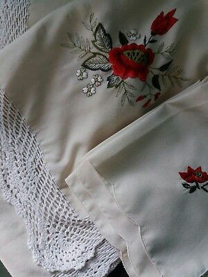 Large Vintage Cream Tablecloth~10  Napkins~Embroidery~Lace~Christmas Red Florals
