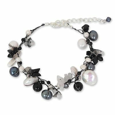 Novica Cultured pearl and tourmalinated quartz beaded bracelet, Sweet Sophistication - Handcrafted Beaded Pearl and Quartz Bracelet