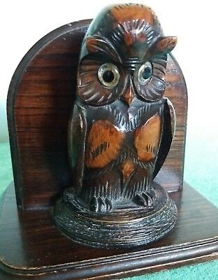 Antique Wood Carved Owl Box~Glass Eyes~Desk Top Tidy~Pen And Pencil Holder~Oak~