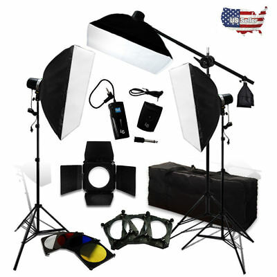 750W Flash Strobe Light Complete Kit Boom Arm Soft Box and Light Stand Kit