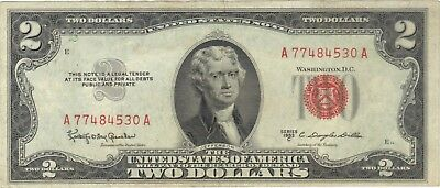 1953 $2 Dollars United States Note Red Seal Banknote Bill Money Cash Jefferson