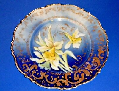 Stunning Antique Flow Blue Daffodil Plate with Gold Trim