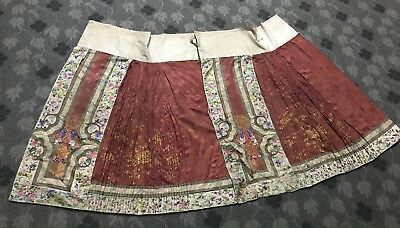 Antique Chinese Hand Embroidered Silk Skirt Qing Dynasty Brown Colour