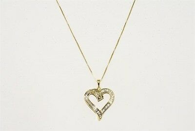 .36Ct Natural Round & Baguette Cut Diamond Heart Cluster Necklace .925 Silver