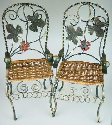 Lot of 2 Wrought Iron & Wicker Dolls or Bears Display Chairs SA141