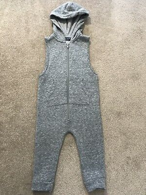 ~ Next Boys Grey Hooded Dungarees Playsuit Tracksuit Zip Up Sleeveless 12-18 ~