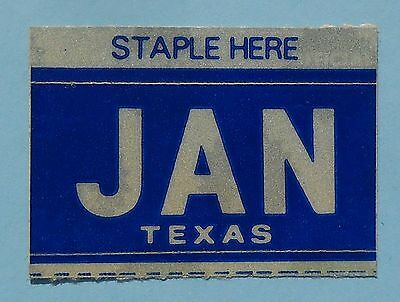 "Texas Month License Plate Sticker - ""JANUARY"" JAN"