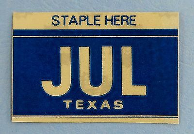 "Texas Month License Plate Sticker - ""JULY"" JUL"