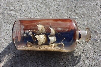 Antique Vintage Ship Boat in Bottle Folk Art Beautiful