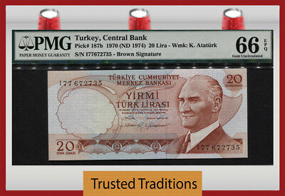 "TT PK 187b 1970 (1974) TURKEY 20 LIRA ""PRESIDENT K."" PMG 66 EPQ GEM UNCIRCULATED"