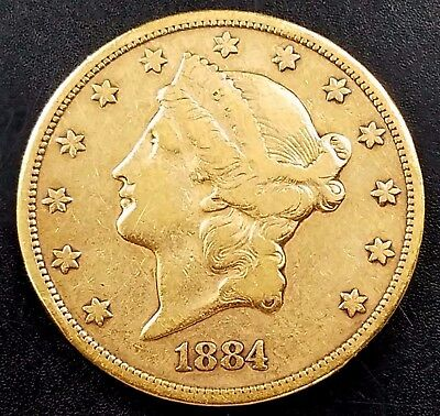 1884 CC Liberty Head $20.00 Gold coin! A mintage of just 81,139! NO RESERVE!