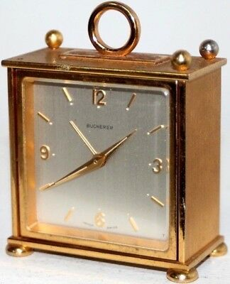 "Antique Running Bucherer Swiss ""imhof"" Brass & Beveled Glass Desk Alarm Clock"