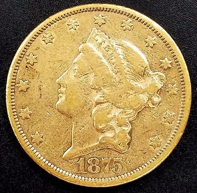 1875 CC Liberty Head $20.00 Gold coin! Only 111,151 Minted! NO RESERVE!