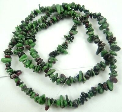 Natural ruby & zoisite Chip Shape 5-10mm DIY Jewelry Making Necklace 17''