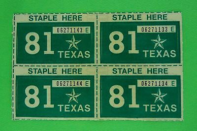 Four NOS 1981 Texas Passenger License Plate Stickers - Unissued (4)