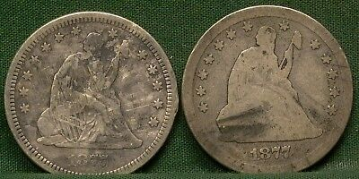 1877 & 1877-S Seated Liberty Quarters AG-VG