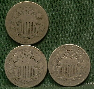 Lot of 3 1866 Shield Nickels AG/G