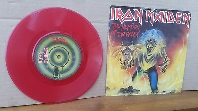 """Iron Maiden -The Number Of The Beast 7"""" Red Coloured Vinyl Single/emi 1982/ Used"""