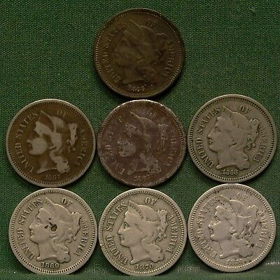 Lot of 7 3 Cent Nickels G-VF Details