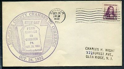 #724 William Penn FDC 1st Delaware County Chamber of Commerce Planty #7