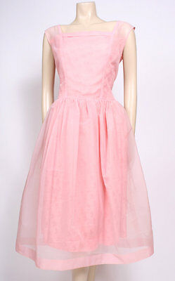Original VINTAGE 1950's 50's PINK NYLON BROCADE PARTY PROM WEDDING DRESS! UK 14