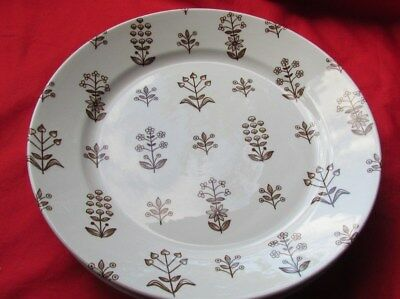 "Lot of 4 Vintage Arabia Brown Tapestry 10 1/4"" Dinner Plates Finland EUC"