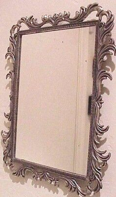 "Vintage Antique 8 1/2"" X 7"" Italian Fancy Ornate Metal Frame Wall Accent Mirror"