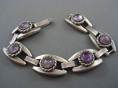 Mexican Early Vintage SILVER Genuine Amethyst Cabochon Chunky Link Bracelet