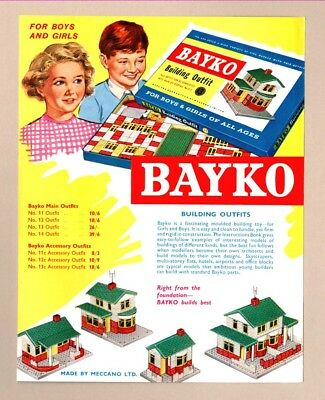 BAYKO BUILDING OUTFITS     (1961 Advertisement)