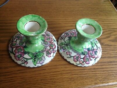 Pair of Maling Candlesticks England Pretty Green and Pink flower design
