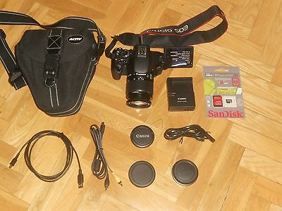 CANON EOS 600D DE 18 Mg + OBJETIVO EF-S 18-55 mm IS II + FUNDA + SD DE 64 GB.