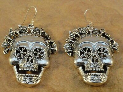 Mexican Mexico Sterling Silver Sugar Skull Day of The Dead Earrings