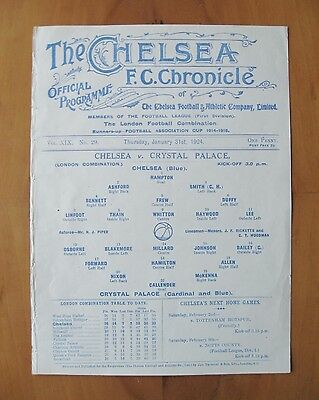 CHELSEA v CRYSTAL PALACE Reserves 1923/1924 (31st January) *Exc Cond Programme*