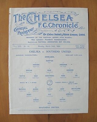 CHELSEA v SOUTHEND UNITED Reserves 1923/1924 (24th March) *Exc Cond Programme*