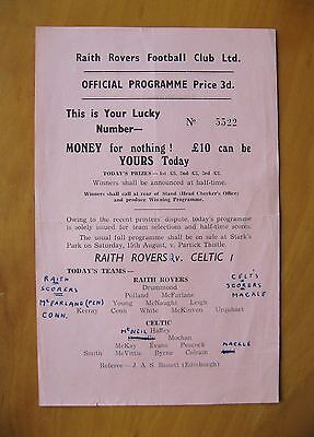 RAITH ROVERS v CELTIC League Cup 1959/1960 *Rare Single Sheet In Good Condition*