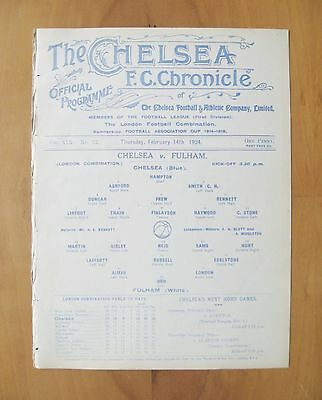 CHELSEA v FULHAM Reserves 1923/1924 (14th February) Exc Cond Football Programme