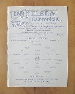 CHELSEA v FULHAM Reserves 1924/1925 (5th March) Exc Condition Football Programme