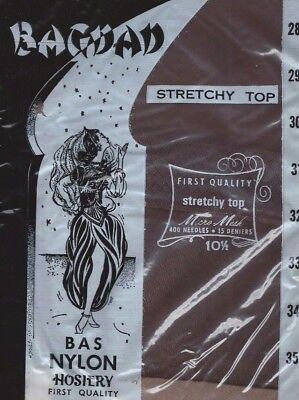Vintage Nylon Stockings Three Pair Size 10 1/2 Bagdad Seamless Stretchy Top
