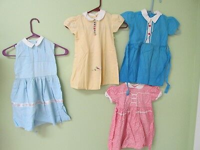 Vintage 1950's  Little Girl Dresses Collection Of 4