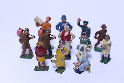 Nice Lot Of 12 Vintage Britains England Lead Farm Figures Hobo Delivery Boy ++