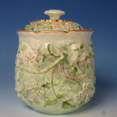 Taylor and Knowles Lotusware Porcelain - Berry Leaf Covered Biscuit Jar